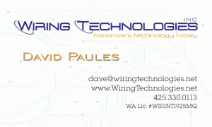 Wiring Technologies, business card and logo